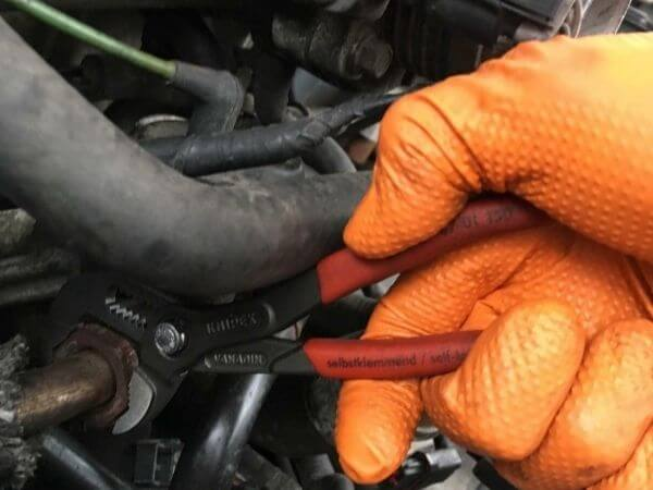 removing a stripped bolt with water pump pliers