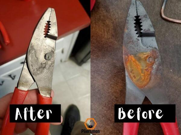 how to remove rust from pliers